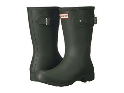 Hunter Original Tour Short Packable Rain Boots (Dark Olive) Women