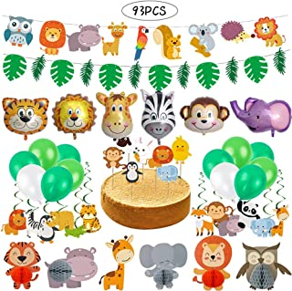 Haojiake 93pcs Jungle Animal Party Supplies Animal Head Balloons Banners Toppers Hanging Swirls Playmates for Jumbo Safari Themed Birthday Party Baby Shower Decorations