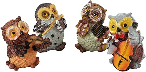 Lovely Products Set of 4 Owls Playing Musical Instruments Showpiece Figurines Garden Statues Decoration Items for Home Outdoor Decorations Multicolor