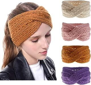 DANMY Womens Winter Knitted Headband Soft Crochet Bow Knotting Hair Band Turban Headwrap Hat Cap Ear Warmer