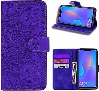 EUDTH Huawei Nova 3i Case, [3D Emboss Flower Pattern] Magnetic Flip Cover [ Card Slots & Stand ] Leather Wallet Case for Huawei Nova 3i - Purple