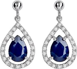 10k White Gold Genuine Pear-Shape Sapphire and Diamond Halo Dangle Earrings