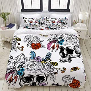 "Mokale King Size Duvet Cover,Skull Flowers Day Dead Seamless Pattern,Decorative 3 Piece Bedding Set with 2 Pillow Shams,Zipper Closure,Ultra Soft 104"" 90"""