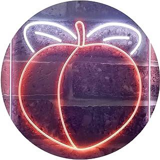 Peach Fruit Store Dual Color LED Neon Sign White & Orange 210 x 300mm st6s23-i3300-wo