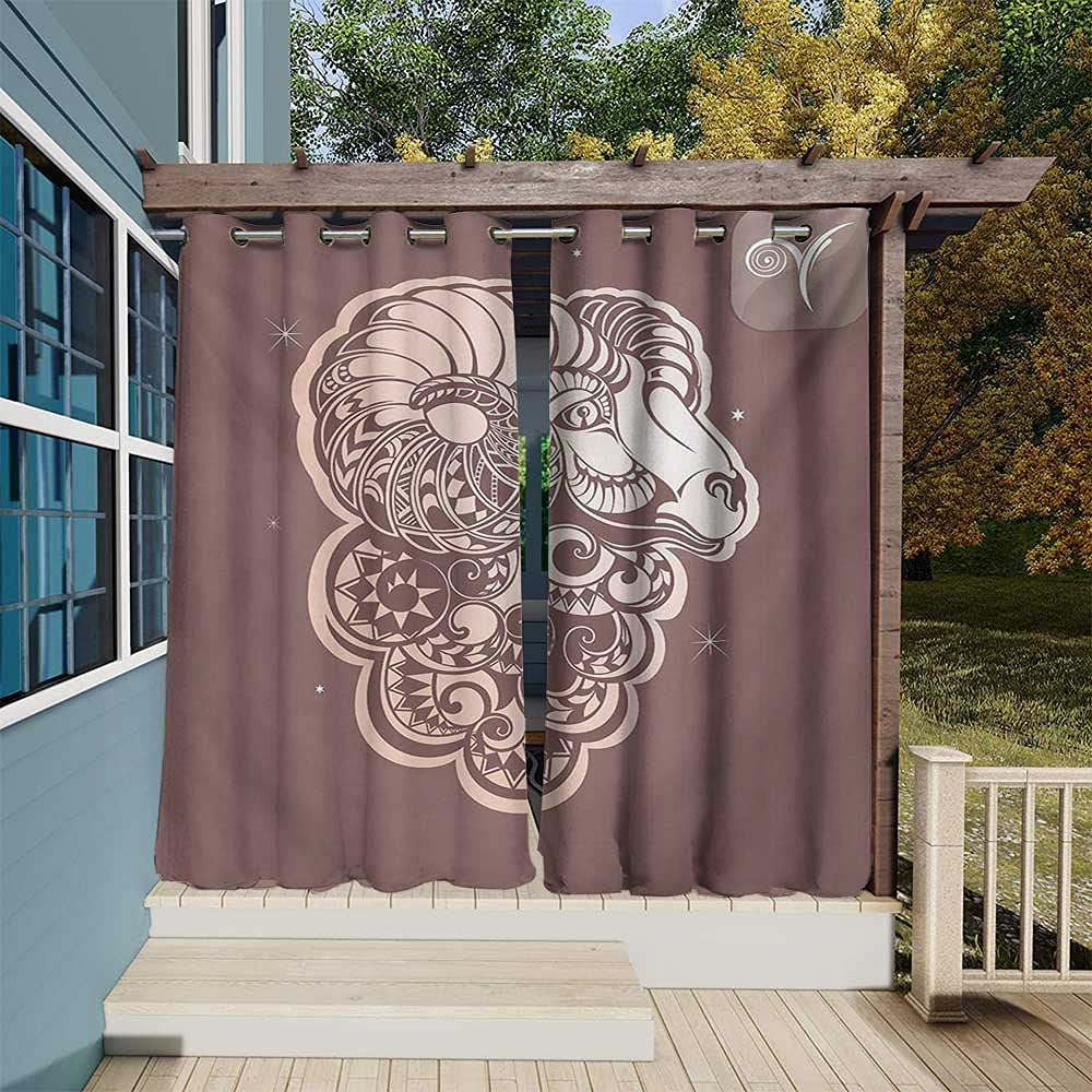 Zodiac Aries Exterior New York Mall Outside Curtains Ram Art Stylized Animal OFFicial