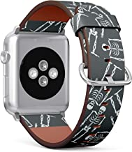 S-Type Leather Bracelet Watch Band Strap Replacement Wristband Compatible with Apple Watch 4/3/2/1 Sport Series 38mm 40mm 42mm 44mm - Bones and Skull Ornament