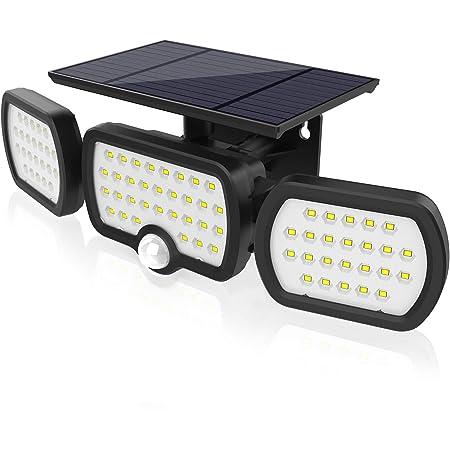 Luz Solar Exterior 3 Cabezas, Romwish 80 LED 3 Modos Luz con Sensor de Movimiento Solar con ángulo de Iluminación Amplio de 360 °, IP65 Luces de Pared Solares Duraderas a Prueba de Agua - Negro