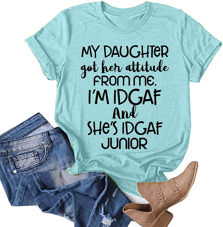 FABIURT Womens Summer Tops, Womens Girls Fashion Letter Print Short Sleeve T-Shirt Casual Loose O-Neck Blouse Tunic Tops