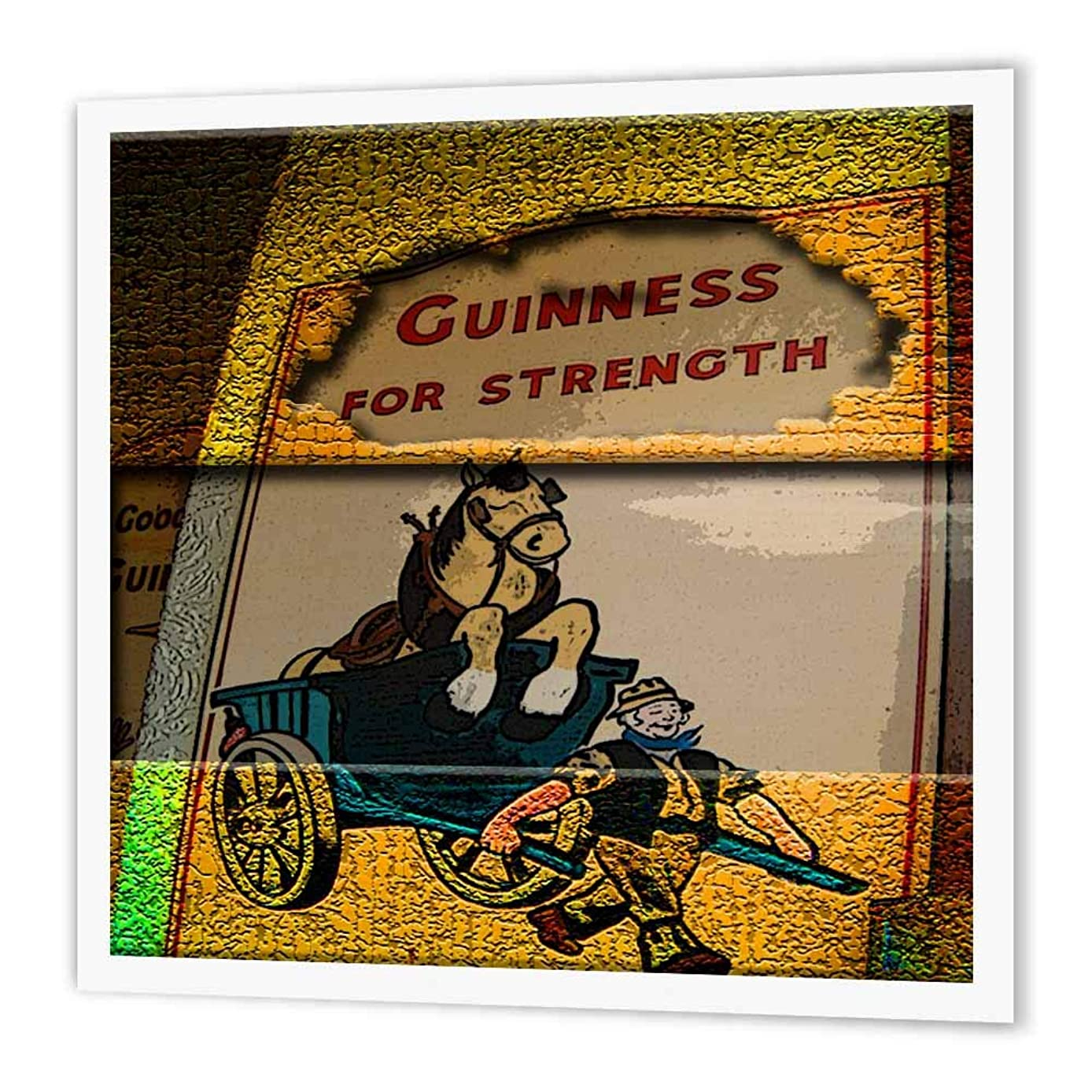 3dRose ht_44628_3 Poster of Guinness for Strength Sign in Ireland Posturized, Given Depth-Iron on Heat Transfer Paper for White Material, 10 by 10-Inch
