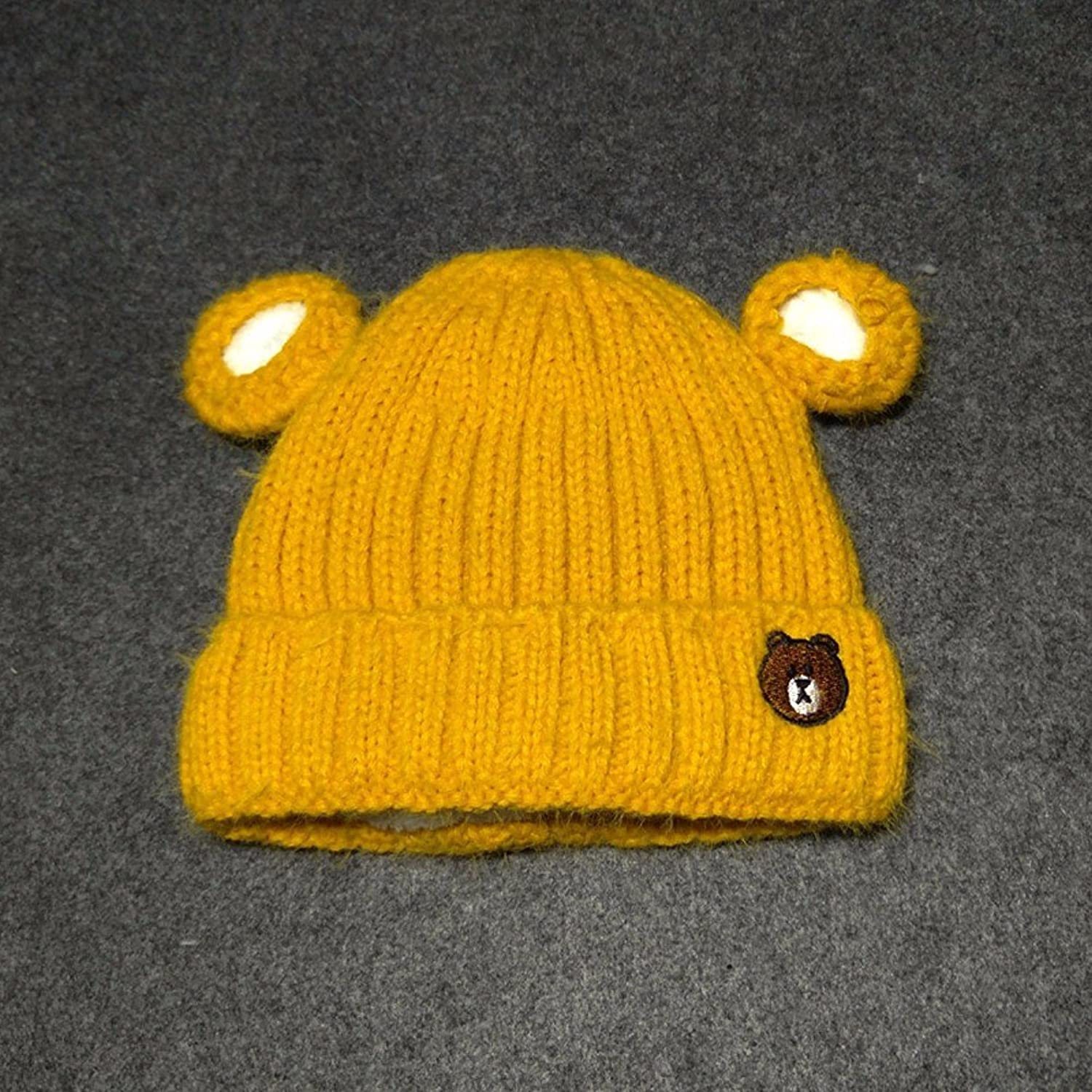 SSBY New baby Hat baby bear knitted hats for fall winter and cashmere thick wool hat set baotou Hat