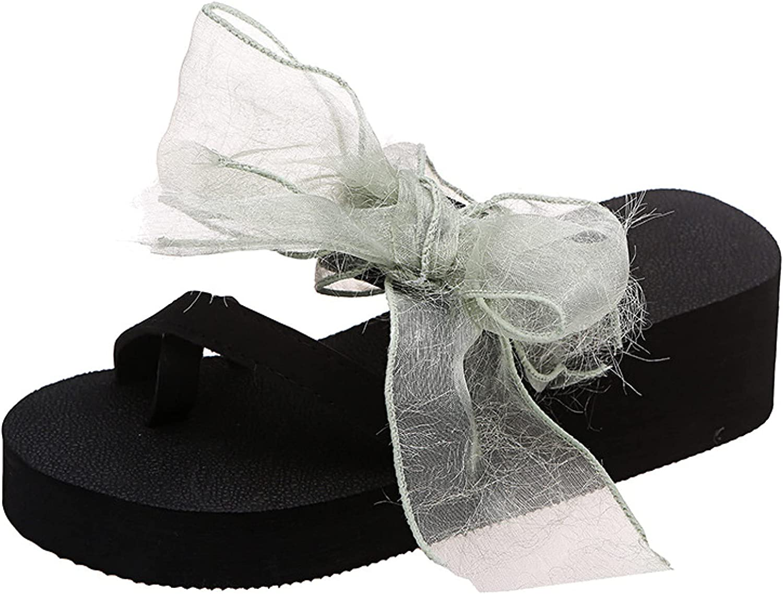 Platform Thongs Flip Flops for Women High Heels Ribbon Bowknot Convenience Ladies Clip Toe Leisure Wedges Slides