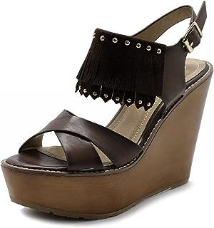 Ollio Womens Shoe Burnish Vintage Faded Fringe Wedge Heel Sandal