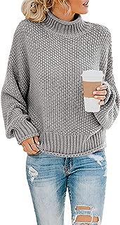 kayamiya Women's Turtleneck Sweaters Slouchy Puff Sleeve Chunky Knit Oversized Pullover Tops