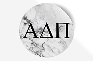 "Alpha Delta Pi Sticker Greek Sorority Decal for Car, Laptop, Windows, Officially Licensed Product, Monogram Design 5"" x 5"" - White Marble"