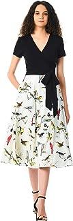 eShakti FX Mixed Media Bird Print wrap Dress - Customizable Neckline, Sleeve & Length