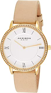 Akribos Xxiv Casual Watch Analog Display For Women, Leather Strap