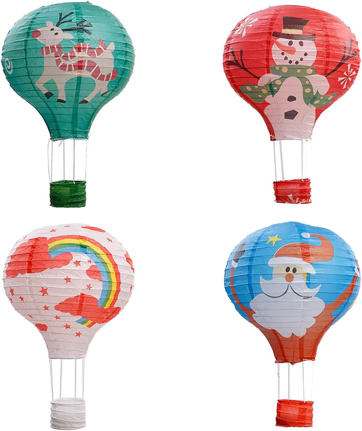 Party Hanging 12 inches Rainbow Hot Air Balloon Paper Lanterns Christmas Accessories Birthday Party Wedding Decoration Christmas Set