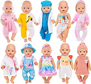 iBayda 10 Sets Doll Clothes Include Dress, Bikini, Rompers, Doctor Outfit, Night-Robe, Headband and Hat for 43cm New Born Baby Dolls and 18inch Dolls Like American Girl Doll, Generation Doll