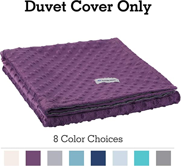 ALPHA HOME Removable Duvet Cover For Weighted Blanket Reversible Design 48 X72 Purple