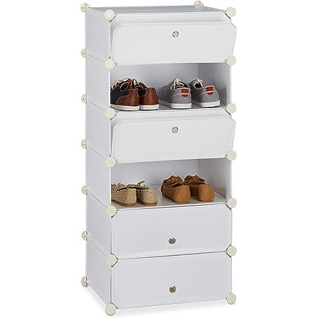 Relaxdays 10021962 Meuble chaussures fermé rangement 6 casiers plastique chaussures modulable DIY HxlxP: 107x49x37 cm, blanc