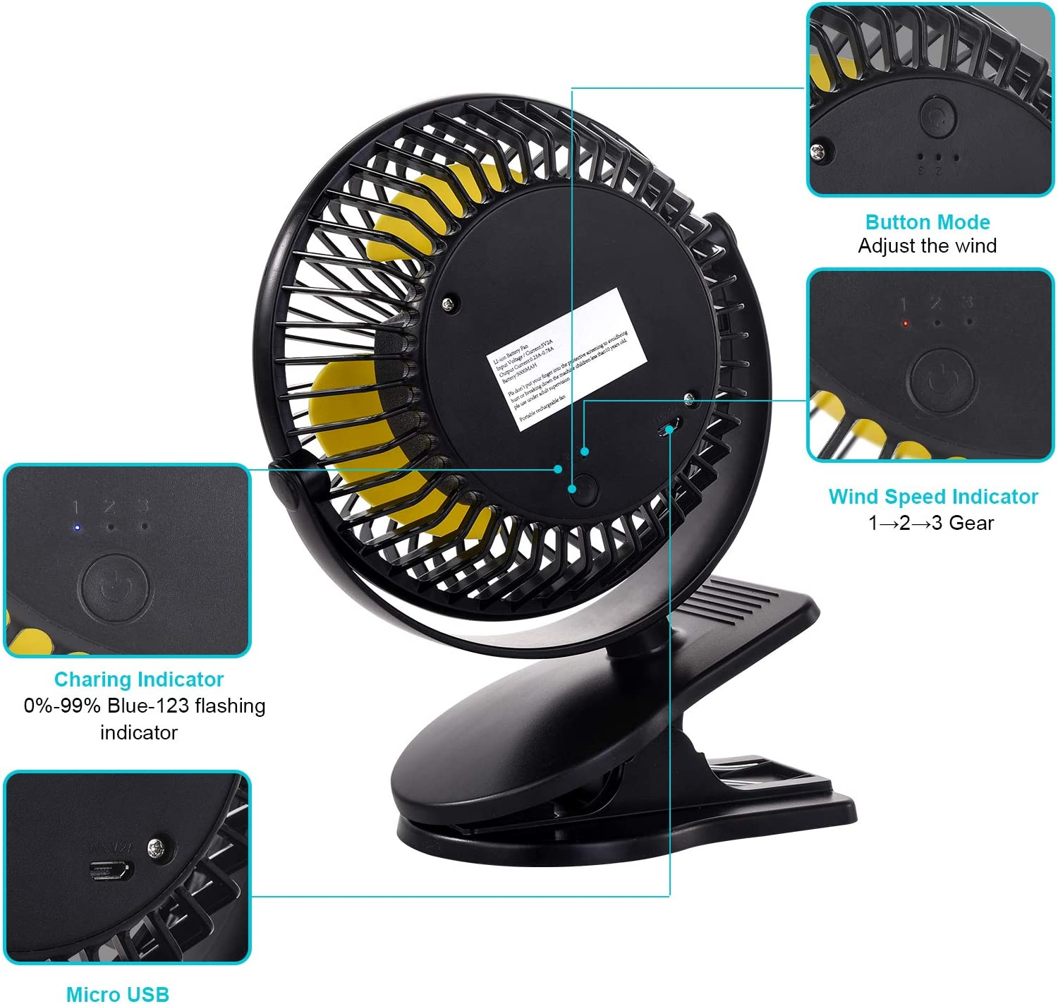Lipop 10000mAh USB Desk Fan, Portable Rechargeable Battery Operated Clip-on Table Fan , 3 Speeds, 360° Rotation,Strong Wind,Quiet Operation,for Home Office Car Outdoor Travel (Black)