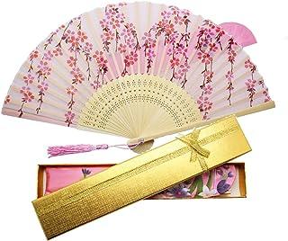 Boshiho 扇子 & 扇子袋 レディース メンズ 高級シルク 正絹 ダンス扇子 綺麗 【日本製x12月品質保証】 花柄 蝶柄 桜柄 おしゃれ 和装小物 和風 上品 華やか 白桜