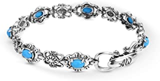 Sterling Silver Multi Gemstone Choice of 5 Different Colors Link Bracelet Size S, M or L
