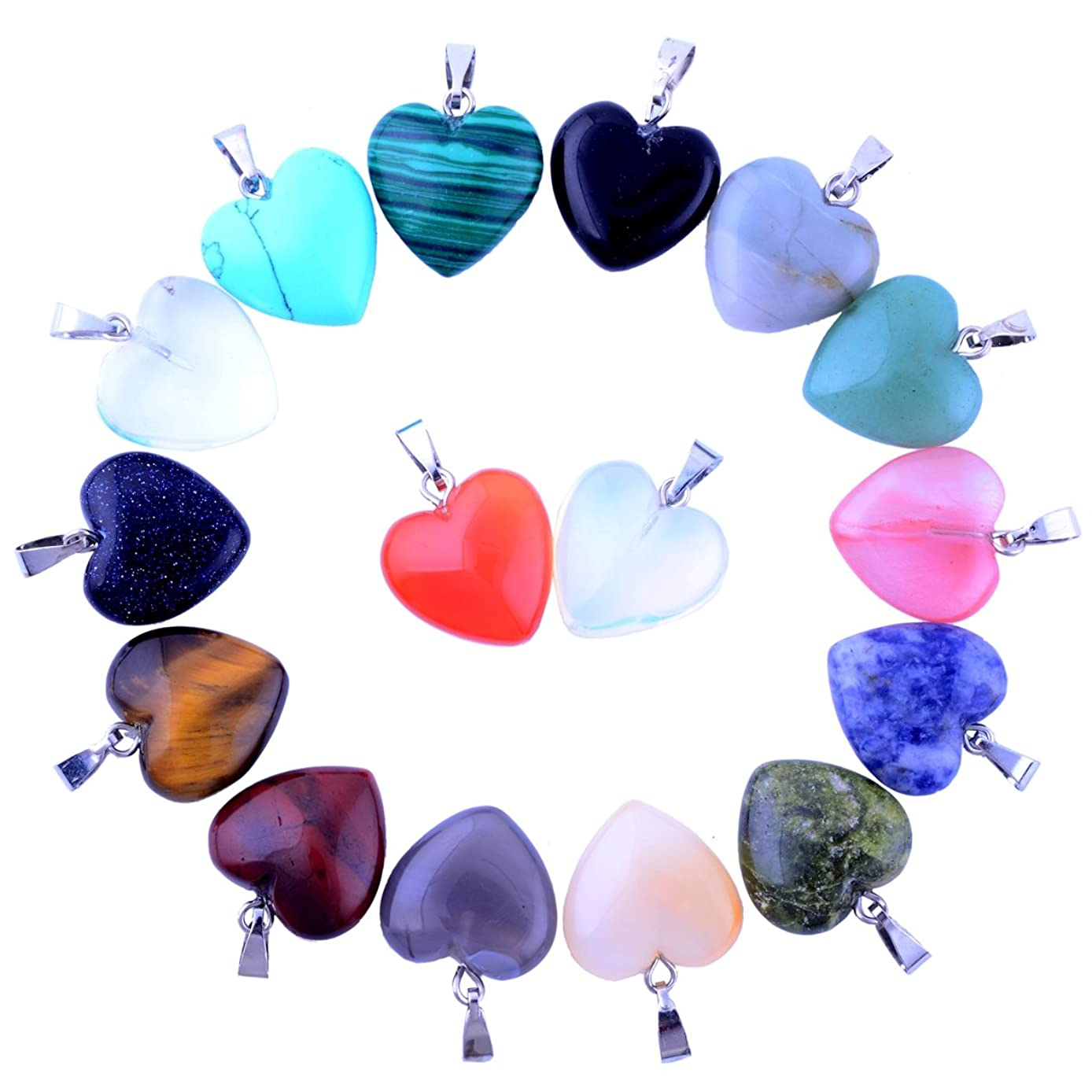 Heart Pendants 20pcs Small Love 0.63inch Charms Crystal Heading Chakra Stone Pendants for Necklace Earring Jewelry Making