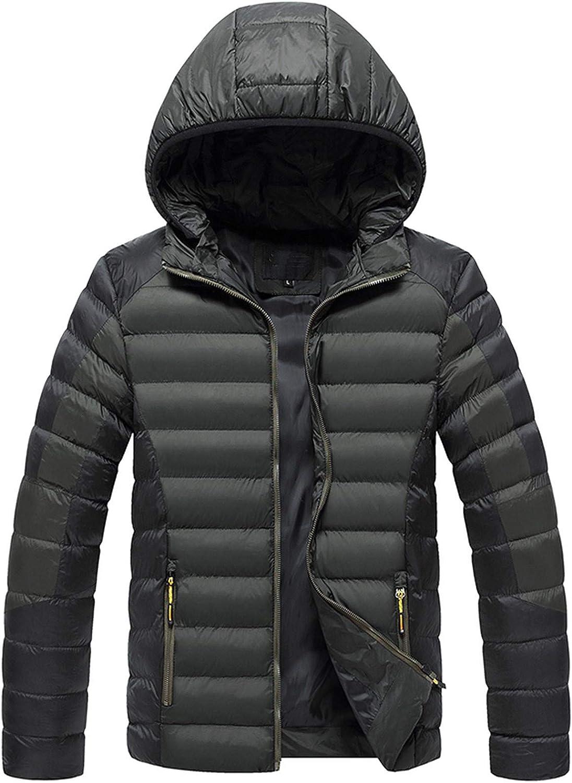 Sinifer Men's Winter Puffy Hooded Coat Warm Cotton Jacket Lightweight Outwear