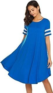 Wildtrest House Wear Dress Women's Plain Loose Loungewear with Short Sleeve S-XXL