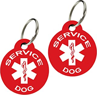 CNATTAGS Service Dog ID Tags - Personalized Front and Back Premium Aluminum (Set of 2)