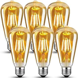LED vintage Edison glödlampa, Edison E27 skruvlampa 6 W (60 W ekvivalent), retro E27 Edison glödlampor, antik stil LED-glö...