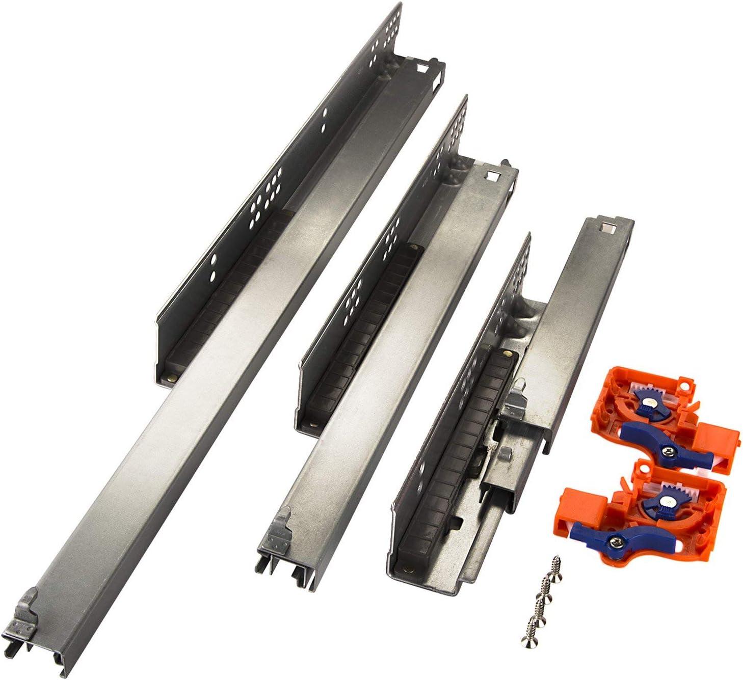1 par de SO-TECH/®FullSlide Gu/ías telescopicas Sistema de caj/ón 270 mm para Caj/ónes de Madera con Push-to-Open