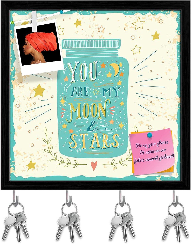 Artzfolio You are My Moon & Stars D3 Key Holder Hooks   Notice Pin Board   Black Frame 20 X 20Inch