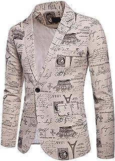QUICKLYLY Trajes Hombre Chaquetas Charm Encanto Casual Un Botón Apto Fit Suit Traje Blazer Abrigo Tops Fiesta Lentejuelas Chaqueta Esmoquin Estampada Manga Larga Cardigan