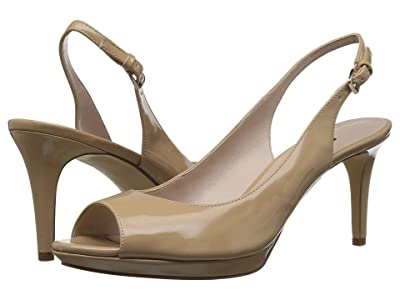Nine West Gabrielle Slingback Peep Toe Pump (Natural Sleek Patent PU) Women