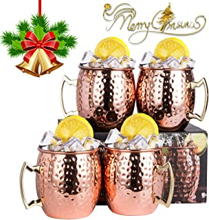 JOEVER Moscow Mule Copper Mugs Set of 4 with Brass Handle 18 oz Stainless Steel Lining Classic Drinking Cup (Hammered)