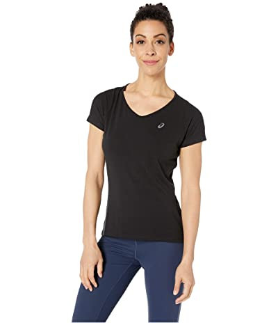 ASICS Short Sleeve V-Neck Top (Performance Black) Women