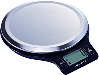 Acurite Round Stainless Steel Digital Kitchen Scale, 1g - 5kg Capacity