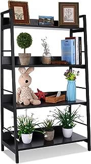 4 Shelf Ladder Bookcase, Industrial Bookshelf Wood and Metal Bookshelves, Plant Flower Stand Rack Book Rack Storage Shelves for Home Decor