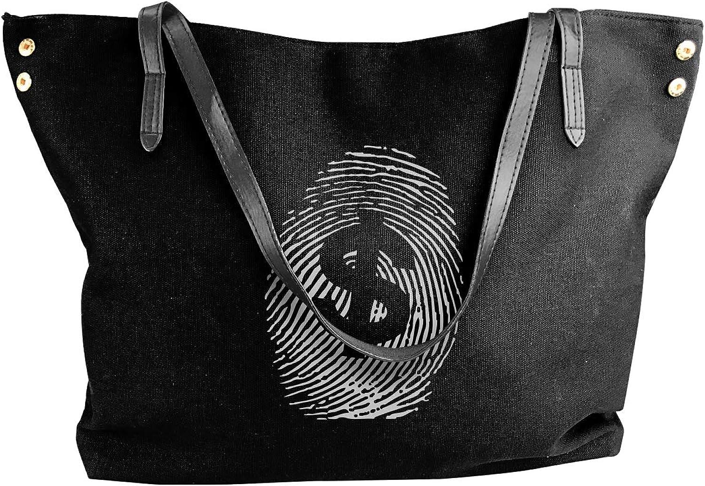 Fingerprint Dollar Sign Women'S Casual Canvas Handbag For Travel Big Shopping Bag