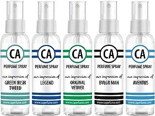 CA Perfume Niche Men Set Impression of ( Aventus + Green Irish Tweed + Original Vetiver + Legend + Bvl. Man ) Fragrance Sample Travel Size Parfum Sprayer ( 2 Fl Oz/60 ml) x 5