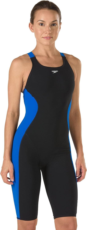 Speedo 8191441 Women's Powerplus Kneeskin Swimsuit, Black bluee-14 40