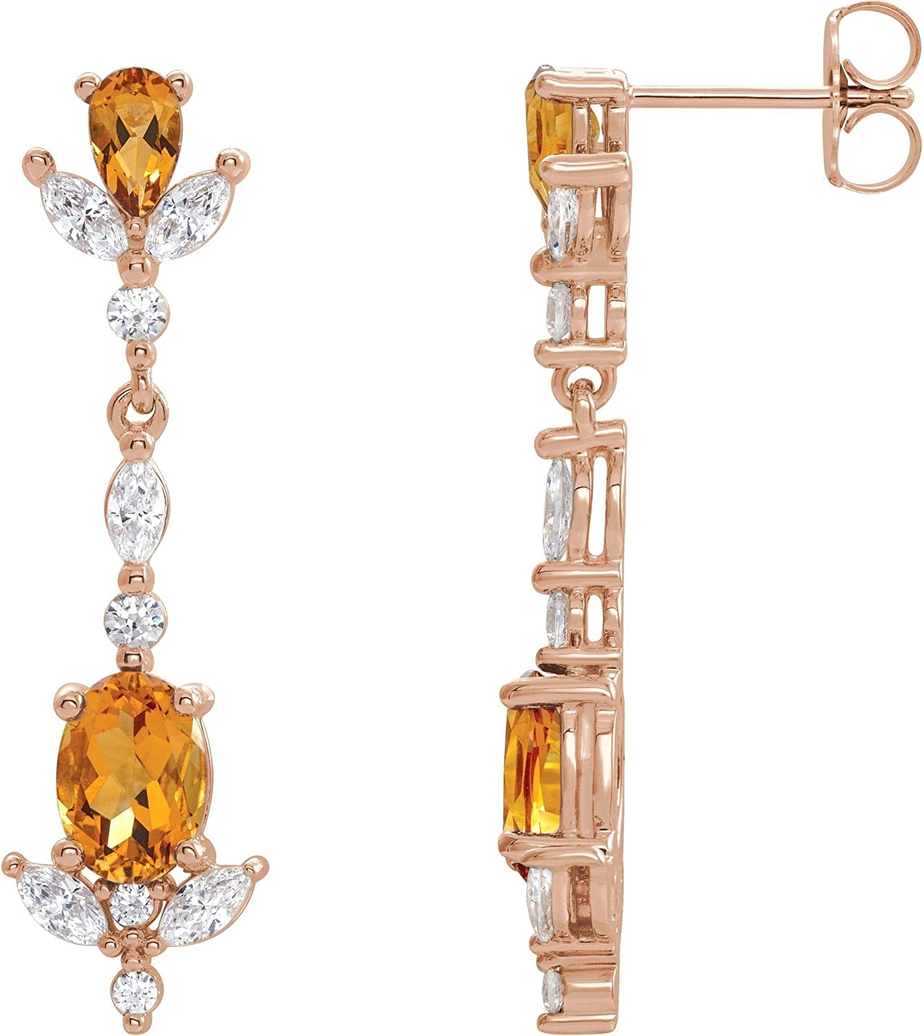 14kt 4 years warranty Rose Gold Citrine and CTW favorite 3 Earrings Diamond