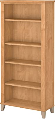Bush Furniture Tall 5 Shelf Bookcase, Maple Cross
