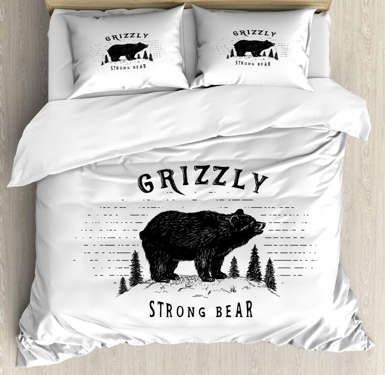 Ambesonne Bear Duvet Cover Set ギフト おトク Fores Strong The Grizzly in