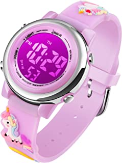 Kids Watch Girls Age 3-10 - Upgrade 3D Cute Unicorn Cartoon 7 Color Lights Digital Waterproof Sports Outdoor LED Watches with Alarm Stopwatch for 3-10 Year Boys Girls Little Child Purple - Best Gift