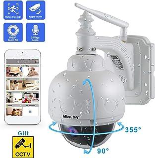 Cámara IP Exterior Camara IP WiFi 1080p Cámara PTZ Vigilancia Exterior WiFi Motorizada P/T 5 X Zoom Visión Nocturna 30M Detección de Movimiento Monitorización Remota vía PC/Smartphone/Tableta