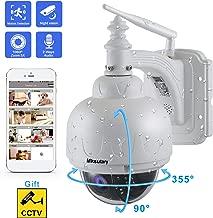 Cámara IP Exterior, Camara IP WiFi 1080p, Cámara PTZ Vigilancia Exterior WiFi Motorizada P/T 5 X Zoom Visión Nocturna 30M Detección de Movimiento Monitorización Remota vía PC/Smartphone/Tableta