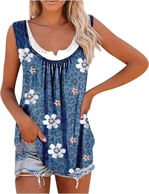 Women's Tank Tops Fashion Bohemian Sleeveless Vest Loose Pleated Spoon Neck Casual Summer Tops